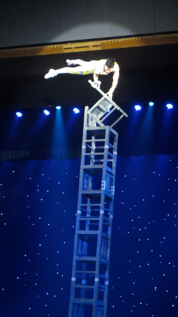 Chinese acrobat in action