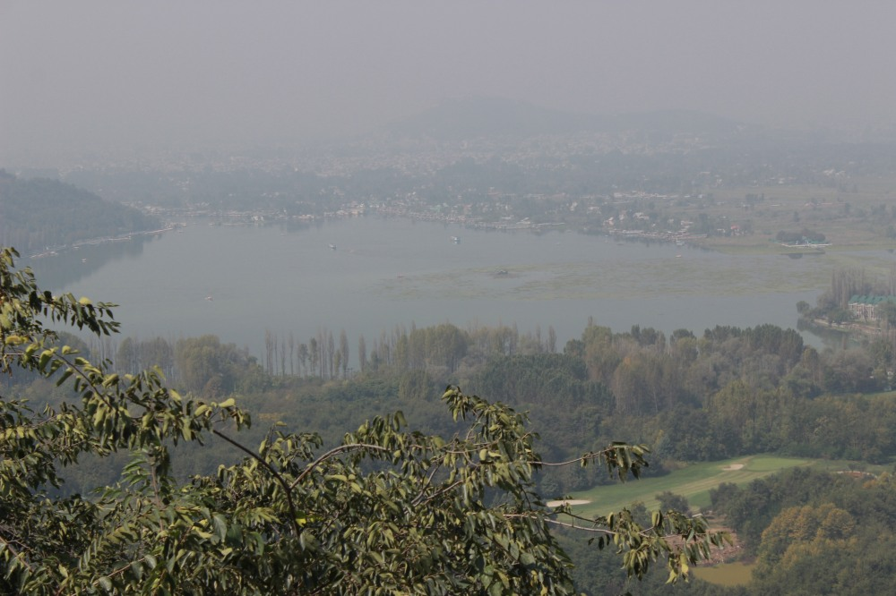 view of the lake from one side. it is the south east side of Dal Lake